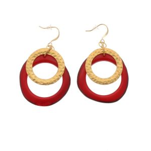 Celeste earrings with tagua pendant and a gold-coloured ring - red