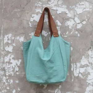 Trendy cotton shoulder bag with faux leather shoulder strap Hava - mint
