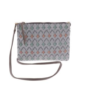 Cross body shoulder bag with woven pattern - Iccha - grey