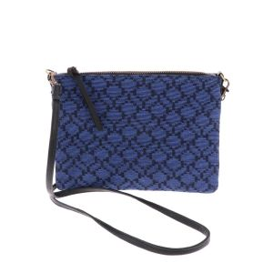 Cross body shoulder bag with woven pattern - Iccha - cobalt blue