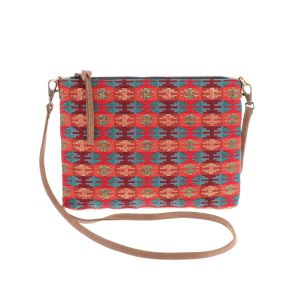 Cross body shoulder bag with woven pattern - Iccha - red