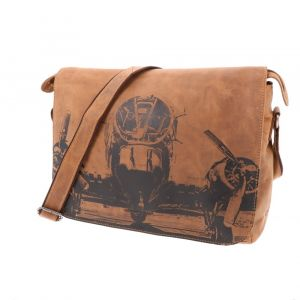"Hudson - vintage leather RFID 14 "" laptop bag with airplane print"
