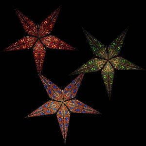 Paper star Ø 60 cm for Xmas Jaipur - incl. lighting set