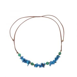Adjustable necklace of tagua and acai - Alicia blue/green
