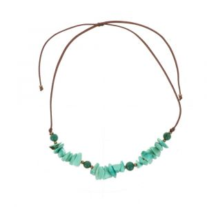 Adjustable necklace of tagua and acai - Alicia/green