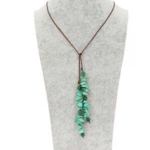 Wrap necklace of tagua and acai - Natalia green