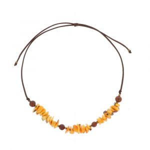 Adjustable necklace of tagua and acai - Alicia ocher/brown