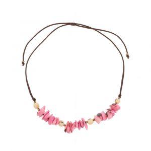 Adjustable necklace of tagua and acai - Alicia pink/cream