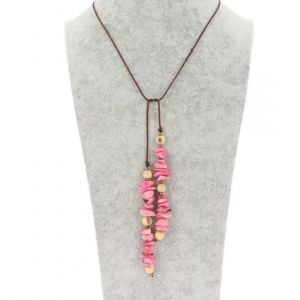 Wrap necklace of tagua and acai - Natalia pink/cream