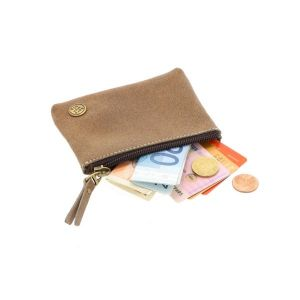 small leather wallet with zip - bison brown