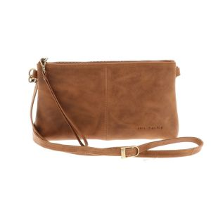 Crossbody bag made of vintage brown eco leather - Maidstone with detachable shoulder and wrist strap. So also useable as clutch