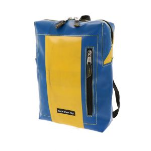 Small rectangular backpack made of recycled truck tarp - Lyon