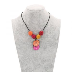 Lotus adjustable tagua necklace - sunset