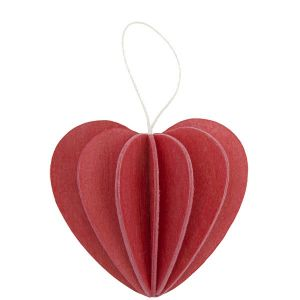 Lovi wooden postcard with 3D heart 6,8 cm - red