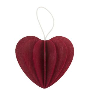Lovi wooden postcard with 3D heart 6,8 cm - dark red
