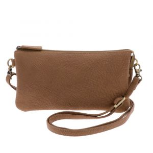 Lucy - trio shoulder bag in leather with elephant print - camel brown