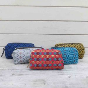 Make-up bag or large pouch of cotton with woven in pattern - Naram - red, turquoise, mustard and grey