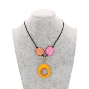 Malva adjustable tagua necklace - orange/pink/yellow