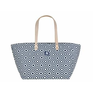 Medium canvas shopper or beach bag - Daytona blue/white