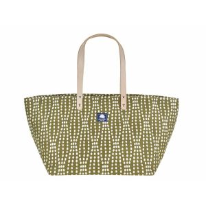 Medium canvas shopper or beach bag - Daytona olive green/white