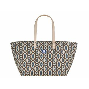 Medium canvas shopper or beach bag - Daytona turquoise/brown