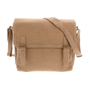 Shoulder bag / Stachel of handwoven cotton - Bihan - beige