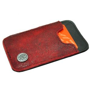 Slim - mini wallet of tire tube and eco leather - red