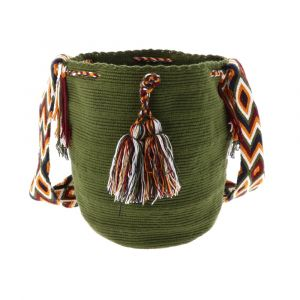Mochila Wayuu bag plain green with colourful strap