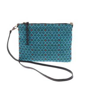 Cross body shoulder bag with woven pattern - Iccha - turquoise