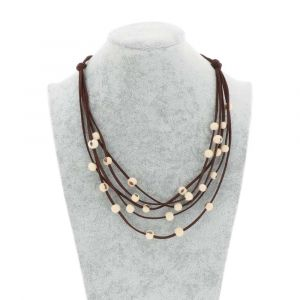 Paulina 5-string necklace with acai seeds - creamy white