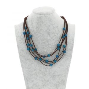 Paulina 5-string necklace with acai seeds - blue