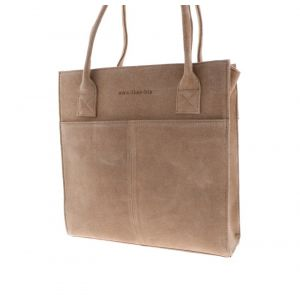 Grace - sturdy and elegant suede ladies work bag - soft brown