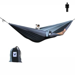 single (travel) hammock in black and 2 shades of grey. Lightweight, strong and comfy