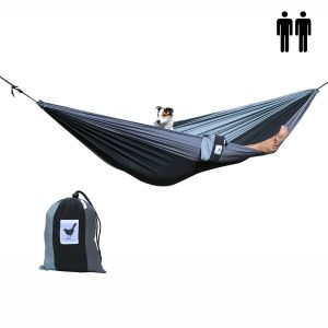 Double (travel) hammock Shades of grey - black with 2 shades of grey