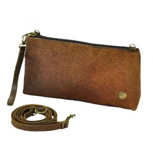 Samba - shoulder bag / clutch from cow hide and eco leather - brown