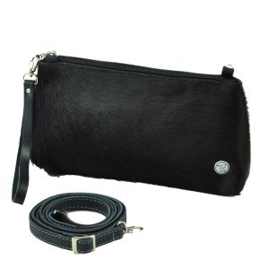 Samba - shoulder bag / clutch from cow hide eco leather - blue antracite black