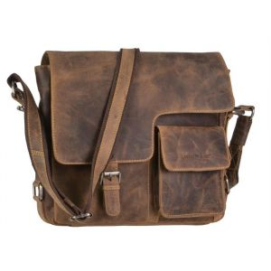 Brown eco-leather schouder bag with flap - Nashville