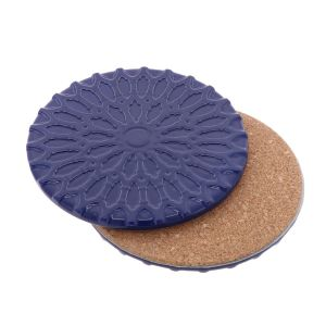 Sintra – luxury design coaster of ceramic and cork - dark blue