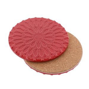 Sintra – luxury design coaster of ceramic and cork - red