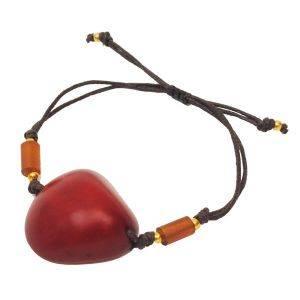 Ovalo tagua bracelet - red