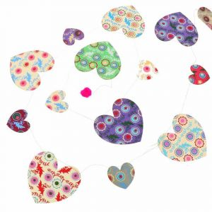 Beautiful paper bunting with hearts of approx. 200 cm