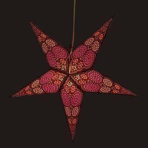 Papieren kerstster Ø60 cm Goa - incl. verlichtingsset-bruin/roze