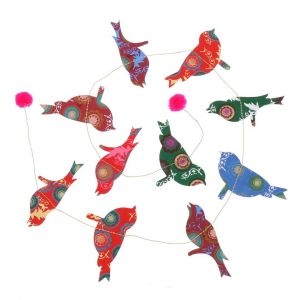 Colourful garland with paper birds