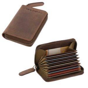 RFID card holder or credit card holder darkbrown vintage eco leather - Dublin