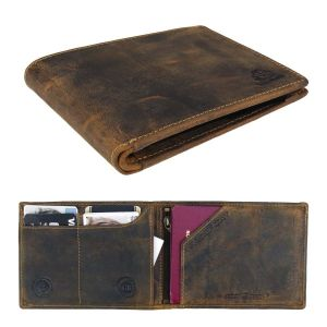 passport or travel wallet in vegetable tanned brown vintage leather