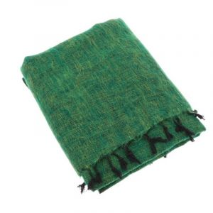 Indra - plaid, throw or blanket from yak wool - grass green