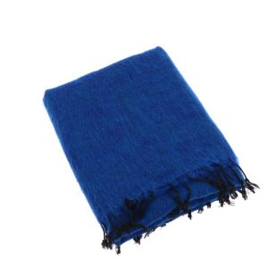 Indra - plaid, throw or blanket from yak wool - royal blue