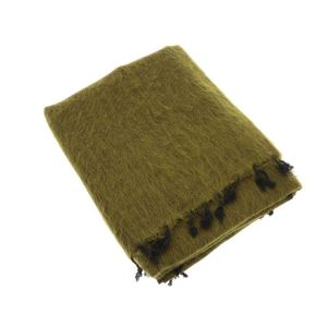 Indra - plaid, throw or blanket from yak wool - olive green