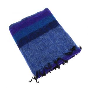 Indra - plaid, throw or blanket from yak wool - purple/blue stripe