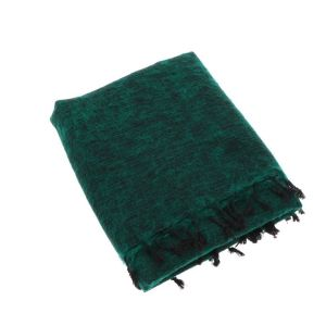 Indra - plaid, throw or blanket from yak wool - emerald green